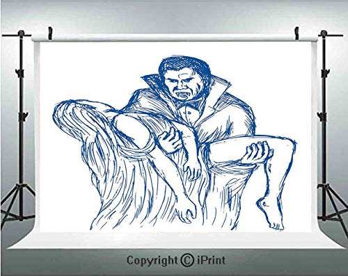 Vampire Photography Backdrops Count Dracula in Cape Carrying His Prey Victim Woman Sketchy Halloween Artwork,Birthday Party Background Customized Microfiber Photo Studio Props,7x5ft,Blue and White