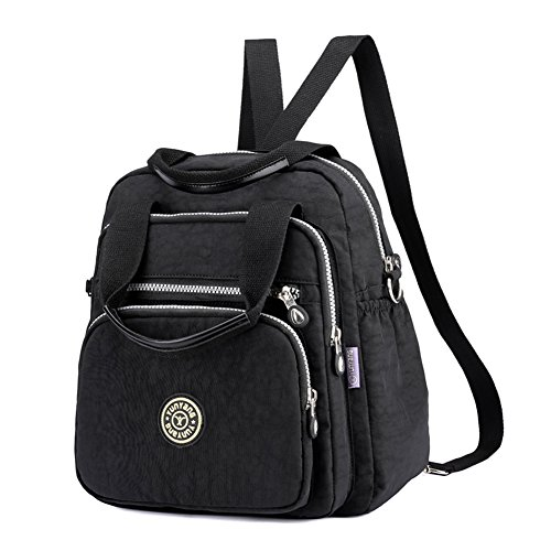 EasyHui Water Resistant Nylon Top Handle Bag Travel Backpack Large Capacity Shoulder Bag Three Ways of Carrying for Women from EasyHui