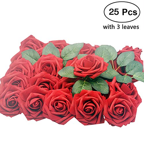 Lmeison Dark Red Artificial Flower Rose, Christmas Tree Decorative Real Looking Artificial Roses w/Stem for Bridal Wedding Bouquets Centerpieces Baby Shower DIY Party Home Décor, 25pcs (Rose Christmas Tree Red)