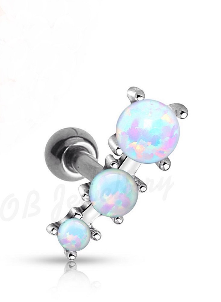 Polished Triple Opal Ball Freedom Fashion 316L Surgical Steel Cartilage/Tragus Barbell