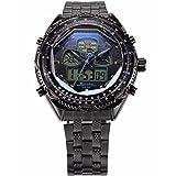 SHARK SH306-US2 Men's Dual Time Digital Stopwatch Alarm Stainless Steel Band Quartz Sport Watch