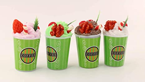 3 Dollhouse Miniature Starbucks Ice Cream Sundae Coffee Cups Food Drink 1//6 Toy