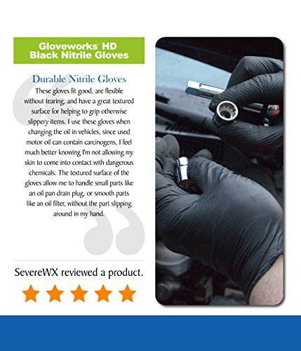 AMMEX - GWBN48100-BX - Nitrile Gloves - Gloveworks - HD, Disposable, Powder Free, Latex Rubber Free, 6 mil, XLarge, Black (Box of 100)