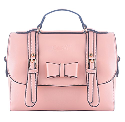 VonFon Female Bag Work Place Korean Bow Retro Shoulder Diagonal Package Pink