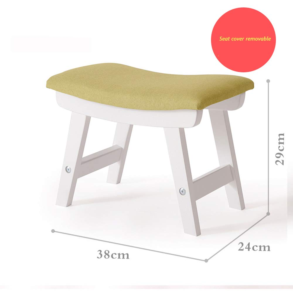 2 YGR dengzi Solid Wood shoes Bench Living Room Foot Stool Home Fabric Stool Small Fashion Adult Stool (color   8)