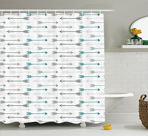 Teal and Grey Arrow Shower Curtain