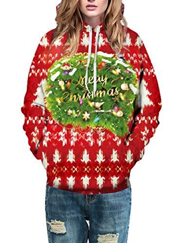 Uomo Felpe Con Cappuccio Unisex Stampare Natale 2 Felpa 3d Pattern Pullover Funnycokid Bdg7qB