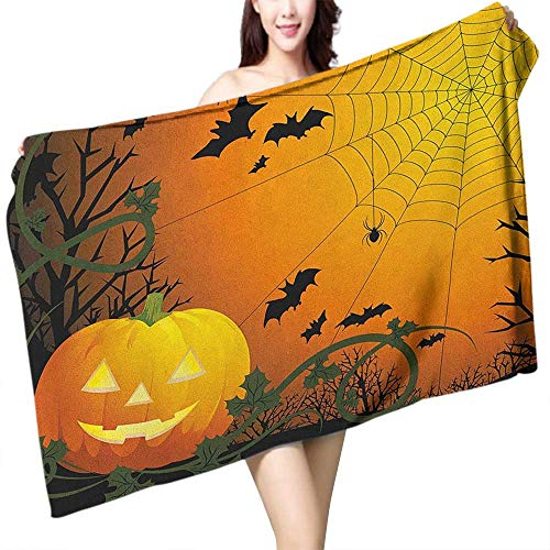 homecoco Soft Bath Towel Spider Web Halloween Themed Composition with Pumpkin Leaves Trees Web and Bats W20 xL39 Suitable for bathrooms, Beaches, -