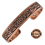 Reevaria Pure Copper Magnetic Heavyweight Cuff Bracelet for Men, with 8 Magnets 3500 Gauss- Recovery and Pain Relief - Arthritis, Golf and other sports, Carpal Tunnel