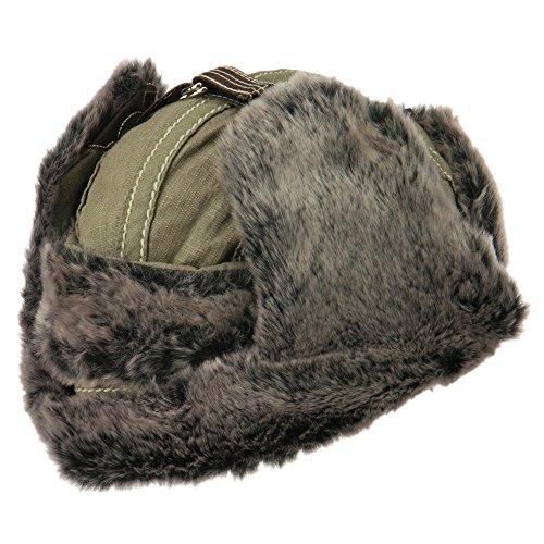 Chambray Faux Fur Trooper Hat - Khaki OSFM