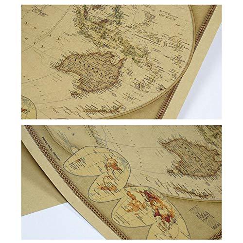 PQZATX Affiche De Carte du Monde Vintage en Papier Kraft Nostalgique Fournitures De Bureau Autocollant De Mur Decoratif De Fond De Chambre