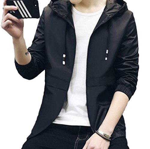 Autumn New Men Slim Baseball Uniform Jacket(Black) - 5