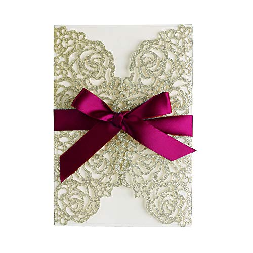 (PONATIA 25PCS/Lot 250GSM 5.12 x 7.1'' Glitter Wedding Invitations Cards Hollow Rose with Burgundy Ribbon for Wedding Bridal Shower Engagement (Champagne Gold Glitter))