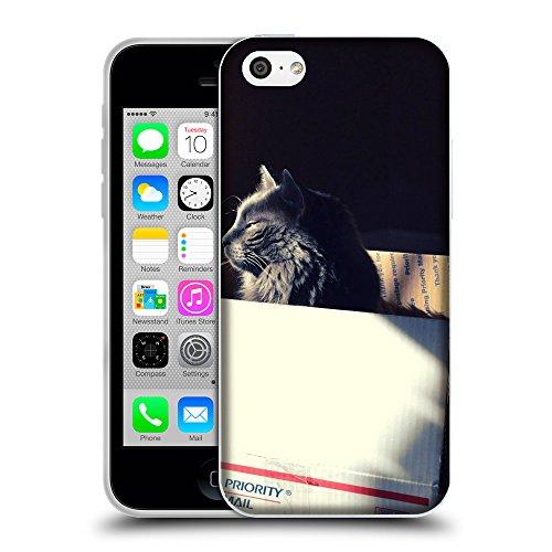Just Phone Cases Coque de Protection TPU Silicone Case pour // V00004185 somnolent chat noir dans une boîte // Apple iPhone 5C