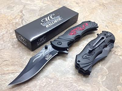 Master Collection Assisted Opening Rescue Tactical Pocket Folding Collection Knife Outdoor Survival Camping Hunting w/ Dragon Design - Black