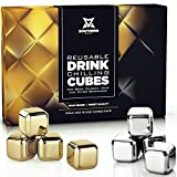 Whiskey Stones Luxury Gift Set - Stainless Steel Rocks 4 Gold + 4 Silver Combo - Reusable Ice Cubes with Barman Tongs and Freezer Tray | by Southern Chill