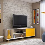 "TV Console Stands 78"" White Yellow Comfort Wood Furniture Modern Storage Flat Television Cabinet with Mounts Plasma Entertainment Center"