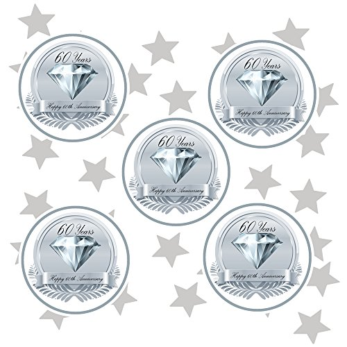 (60TH Anniversary Medallion Deco FETTI (24 Piece Plus Metallic Confetti) by Partypro)