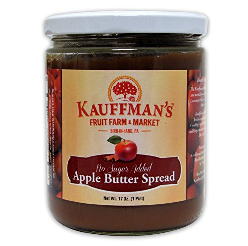 Kauffman's Fruit Farm Spiced Apple Butter, Homemade, No Sugar Added, Kosher, Non-GMO, Gluten Free. Perfect to use in Baking, As A Spread, or BBQ Sauce! 17 Oz. Jar (Pack of 2)