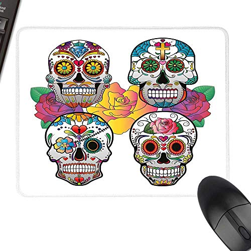Sugar Skull Decor Extra Large Mouse Pad Different Types of Skulls Rich Colorful Ornaments Roses Border Carnival Laptop Desk Mat, Waterproof Desk Writing Pad 23.6