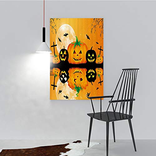 Philip C. Williams Hanging Wall Decoration Painting Spooky Carved Halloween Pumpkin Full Mo with Bats and Grave by Lake for Living Room Office Hotel Frameless W36 x H48 ()