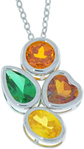 Natural Ecstasy Topaz Simulated Emerald Orange /& Yellow Citrine Round Pear Heart Oval Bezel Pendant .925 Sterling Silver