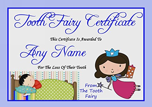 (Blue Personalized Tooth Fairy Certificate)
