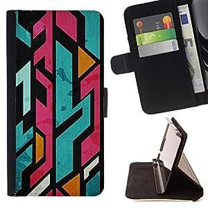 For HTC DESIRE 816 Case , Líneas dentadas Resumen Marker- la tarjeta de Crédito Slots PU Funda de cuero Monedero caso cubierta de piel