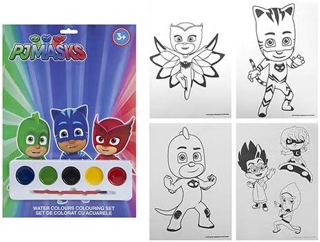 TOYLAND PJ Masks Water Colors Coloring Set con 5 Pinturas y ...