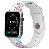 Floraler Sport Band For Apple Watch 38mm, Soft Silicone Strap Replacement Wristbands For Apple Watch Sport Series 3 Series 2 Series 1(Floral-30 S/M)