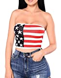 Fulok Womens Crop American Flag Print Sexy Strapless Stripe Top