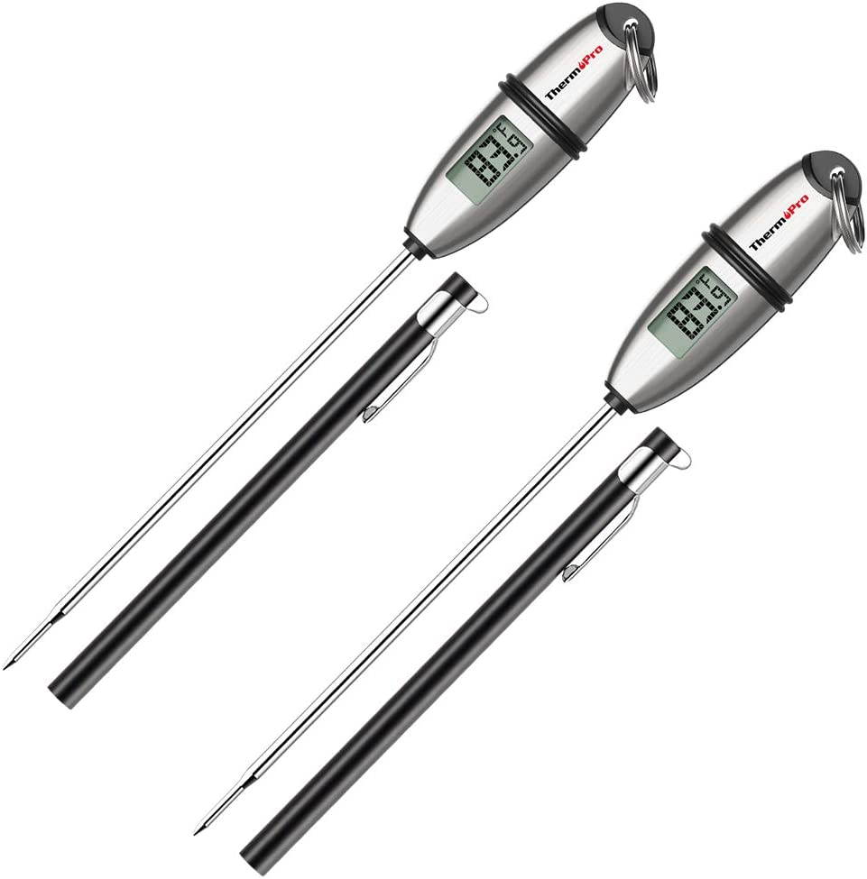 ThermoPro TP-02S(2 Pack) Instant Read Meat Thermometer Digital Cooking Food Thermometer with Super Long Probe for Grill Candy Kitchen BBQ Smoker Oven Oil Milk Yogurt Temperature