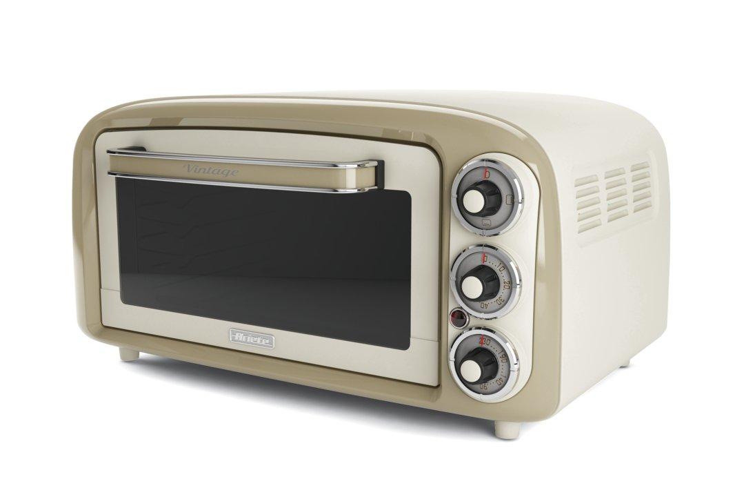 Ariete 979 - Forno Elettrico di Design 18 Litri, Idoneo per pizza da 30 cm, 1380W, 3 posizioni di cottura, Timer 60', Acciaio Inossidabile, Beige Pastello Timer 60' 979/1