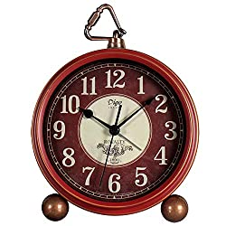 Small Retro Red Desk Clocks,Metal Frame,Decorative Silent Non Ticking Clock with Large Numerals Display for Seniors and Bedrooms Living Room Decor