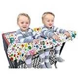 Double Shopping Cart Cover for Twins Baby or Toddler, 2 in 1 Large High Chair Cover for Boys Girls, Fit Restaurant Highchair, Machine Washable, Fold into Compact Carry Bag
