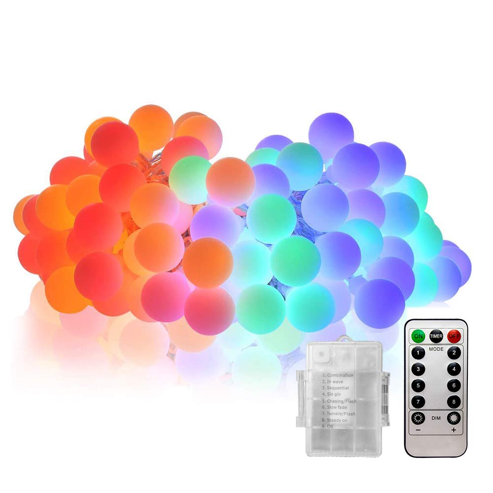 Labvon Battery Powered String Light, 50 LEDs 17ft Fairy String Lights Indoor/Outdoor Decorative String Lights,with Remote & Timer, 8 Modes, Multi Color