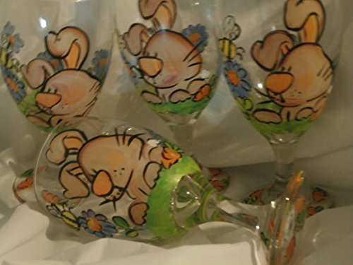 Hand painted Bunny/flowers. set of 4 short stemmed ice tea glasses.. (Hand Ice Painted)