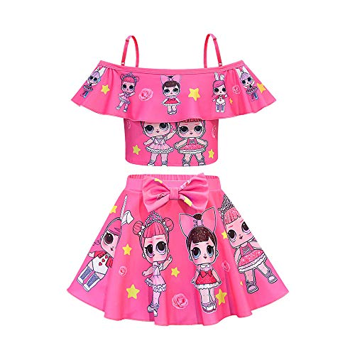 Rohero Toddler Baby Girls Swimsuits Two Piece Doll Print Ruffle Swimwear Bathing Suit for LOL Doll Surprised Beach Tankinis (120cm/ 5-6Y, Star Rose)
