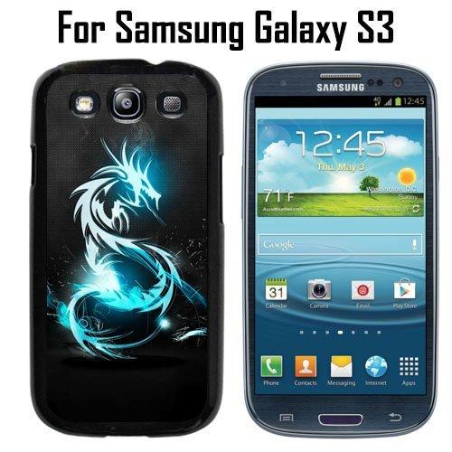 Neon Blue Dragon Custom Case/ Cover/Skin *NEW* Case for Samsung Galaxy S3 - Black - Plastic Case (Ships from CA) Custom Protective Case , Design Case-ATT Verizon T-mobile Sprint ,Friendly Packaging - Slim Case (Neon Dragon)