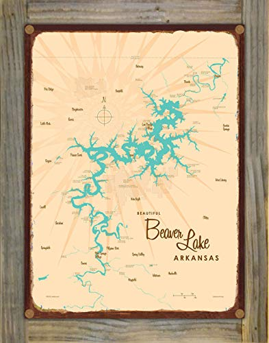 Beaver Lake Arkansas Vintage-Style Map Rustic Metal Print on Reclaimed Barn Wood by Lakebound (9