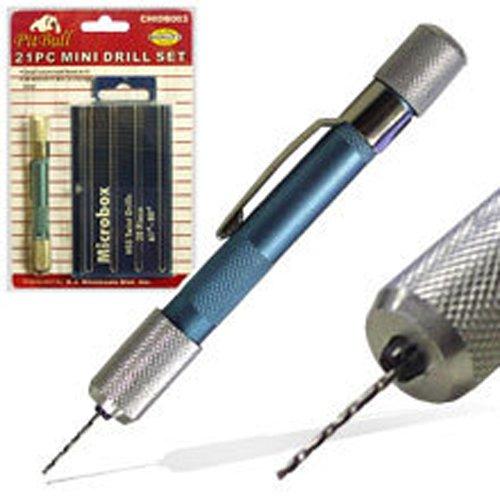 New 21pc Mini Micro-drill Bits Set Index 61-80 w/ Aluminum Hand (Mini Drill)