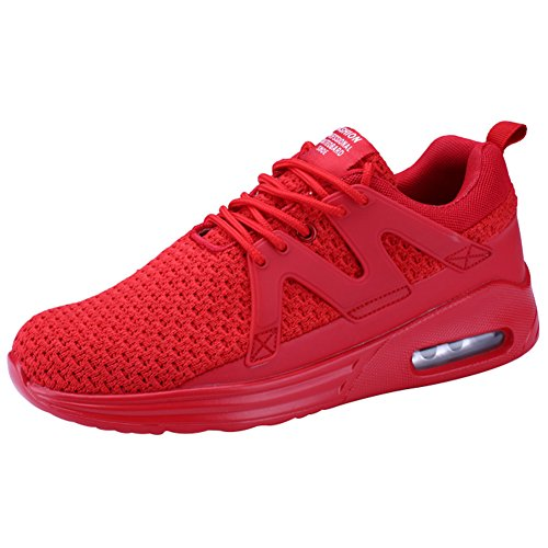 Wealsex Men's Air Trainers Multi Sport Running Cushion Shoes Shock Absorption Mesh Breathable Fitness Shoes Gym Athletic Jogging Sneakers Red
