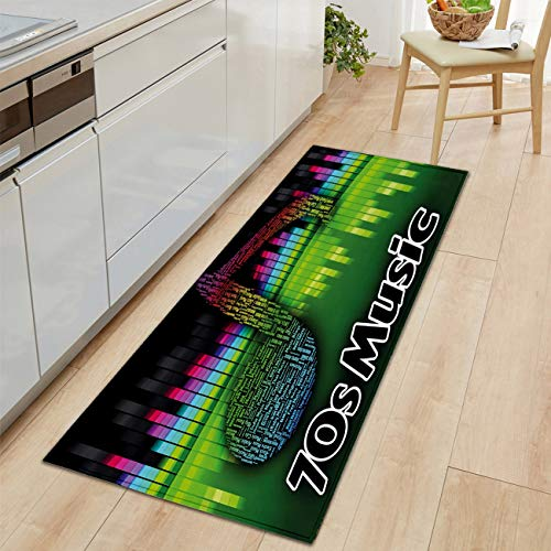 Bold Creative Printing Flannel Carpet Door Carpet Bath mat Kitchen Living Floor mat Super Soft and Cozy Acoustic Audio Colored Musical Note Harmony Modern Living Room and Bedroom Soft Cozy Rug (Comfort Harmony Cozy Cart Cover)