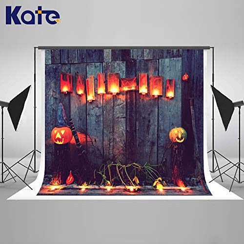 Kate 20×10ft Halloween Backdrop Wood with Pumpkin Lanters