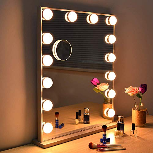 Fenair Large Vanity Mirror With Lights & USB Charging Port – Hollywood Style Makeup Vanity Mirror,3 Color Lighting Model, Cosmetic Mirror with 14 Dimmable Bulbs for Dressing Table (24.5″x20.5″)