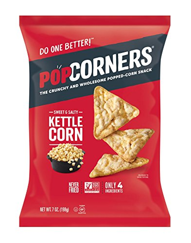 Puffs Organic Corn (POPCORNERS Kettle Corn Popped Corn Snacks, Gluten Free, Non-GMO, 7oz Bags (Pack of 12) - Packaging May Vary)