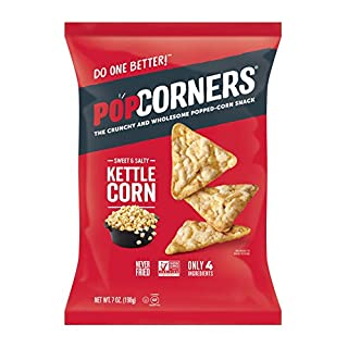 PopCorners Kettle Corn Snack | Gluten Free, Vegan Snack | (12 Pack, 7 oz Snack Bags)