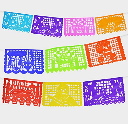 2 Pack. Dia de los Angelitos, Day of the little Angels Mexican Papel Picado Tissue Paper Banner. Colorful Day of the Dead Decorations Medium Size Panels]()