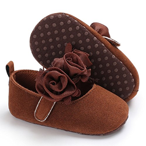 Meeshine Neonate Rose Mary Jane Scarpe Infant Bambino Presepe Scarpe Da Principessa Scarpa Piatta Marrone