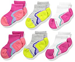 Stride Rite Little Girls\' Athletic Made2play Fashion Socks Quarter 6 Packs, Assorted, Sock size 5-6.5 / Shoes size 3-7